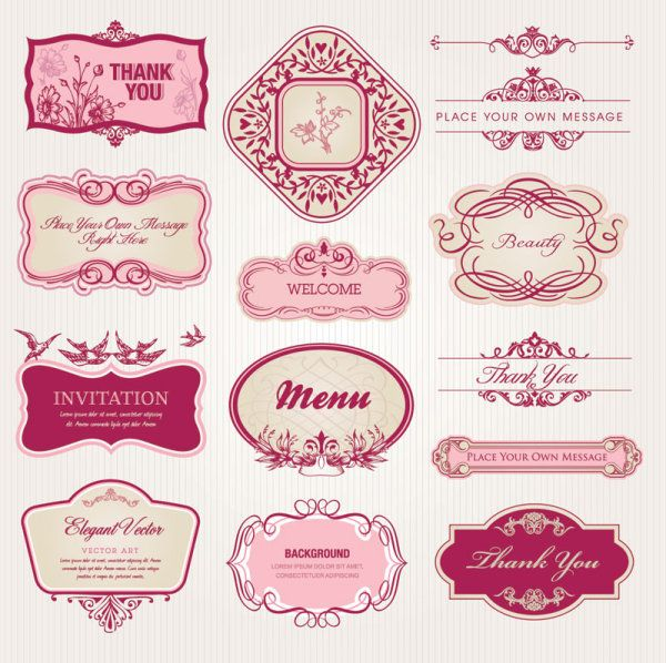 Exquisite European style pattern label vector 1 450x448 ウェディング・バレンタインに!ラブリーでかわいいラベルフレーム2SET Free Style