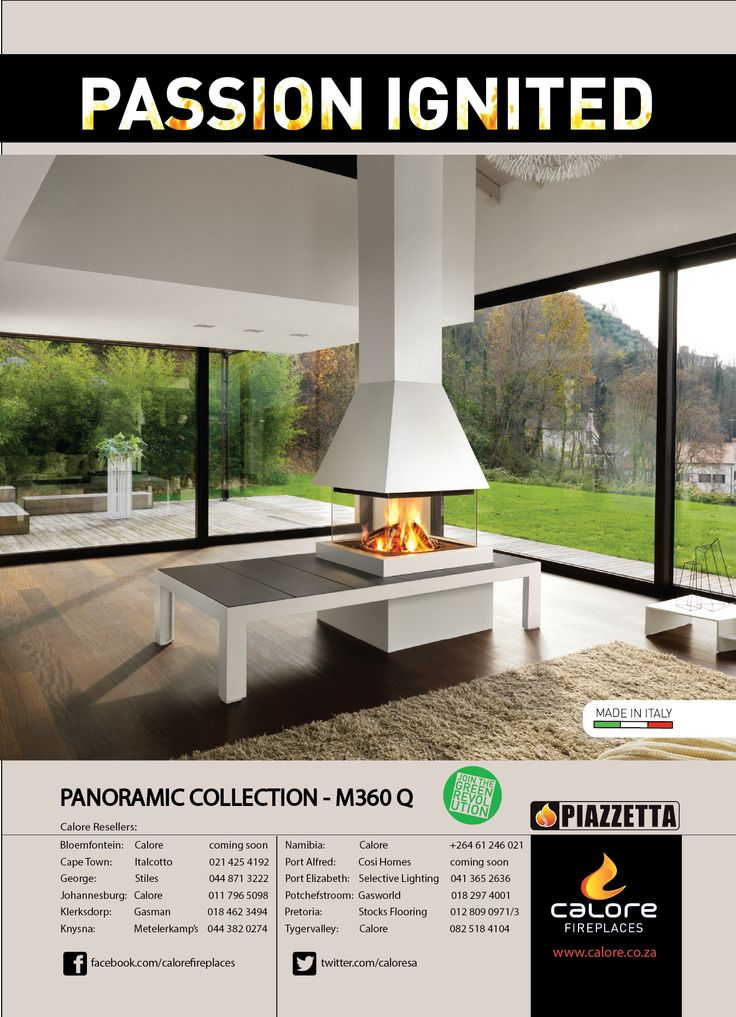 Passion Ignited - Piazzetta's M360 Q Panoramic Fireplace. www.calore.co.za