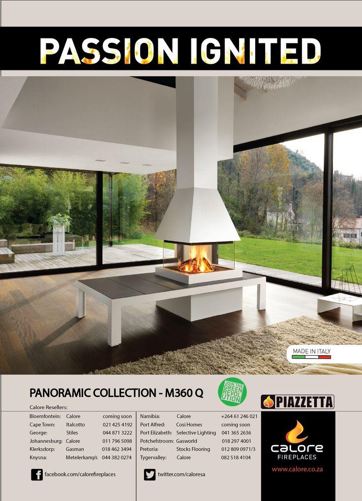 Passion Ignited - Piazzetta's M360 Q Panoramic Fireplace. www.calore.co.za