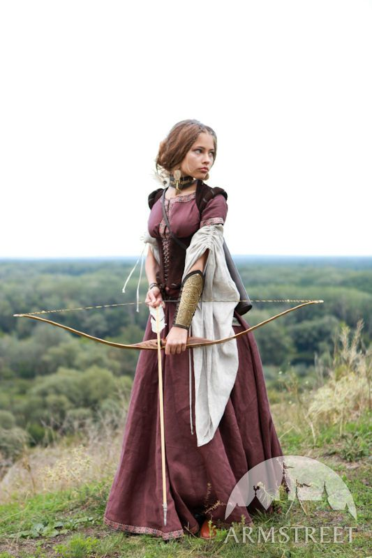 """Can't really get enough of this dress with the archery! Medieval Clothing """"Archeress"""" with undertunic and corset"""