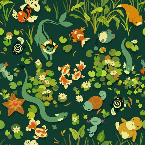 Water Pokemon fabric by alyssakorea on Spoonflower - custom fabric