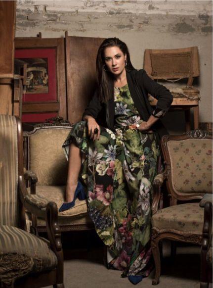 "Eva Marciel inside Mira Magacin wearing Naughty Dog FW1617 ""Fall print"" long dress! Item now on sale 50% off! Chek www.naughtydog.it"