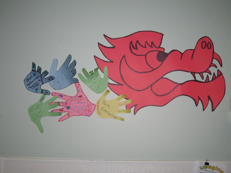 Great idea from Leduc Public Library!  Their dragon will grow throughout the summer as kids trace their hands and write the title of their favourite book or summer event!: Kids Tracing, Dragon, Great Ideas, Favourit Books