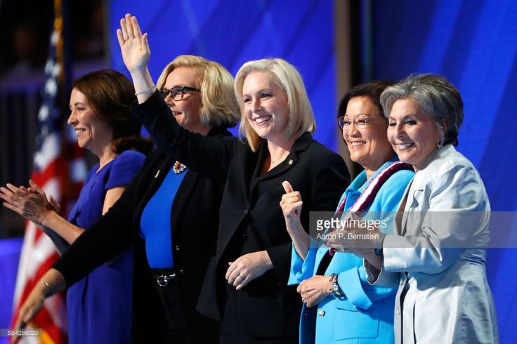 Sen. Maria Cantwell (D-WA), Sen. Claire McCaskill (D-MO), Sen. Kirsten Gillibrand (D-NY), Sen. Mazie Hirono (D-HI), and Sen. Barbara Boxer (D-CA) acknowledge the crowd on the fourth day of the Democratic National Convention at the Wells Fargo Center, July 28, 2016 in Philadelphia, Pennsylvania. Democratic presidential candidate Hillary Clinton received the number of votes needed to secure the party's nomination. An estimated 50,000 people are expected in Philadelphia, including hundreds of…