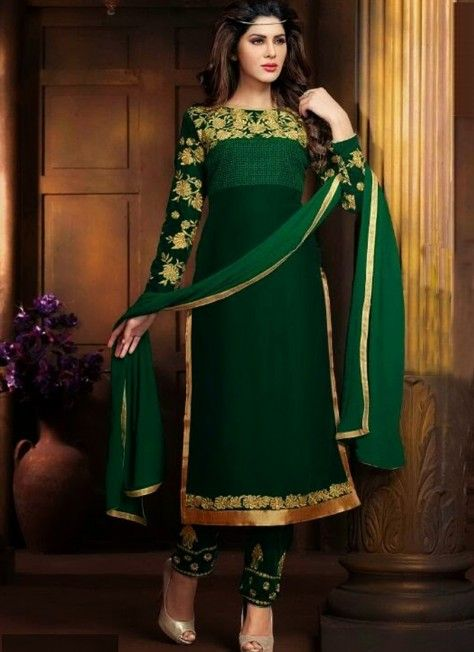 Fabulous Green Velvet Semistitched Churidar Suit With Embroidery Work