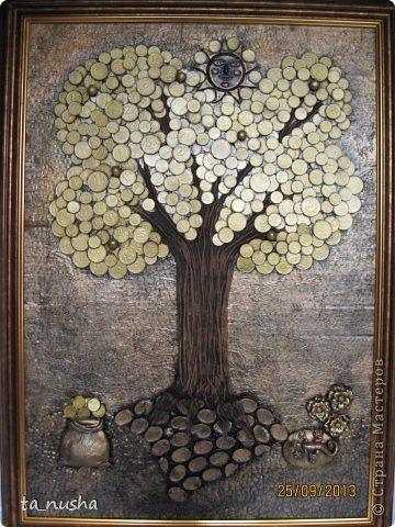Картина панно рисунок День рождения Ассамбляж Лепка Денежное дерево Капрон Салфетки Скорлупа яичная Тесто соленое фото 1