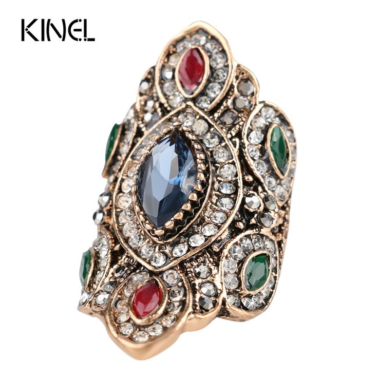 Punk Rock Vintage Wedding Rings For Women Plating Antique Gold Unique Crystal Resin Big Ring Turkey Jewellery Christmas Gift