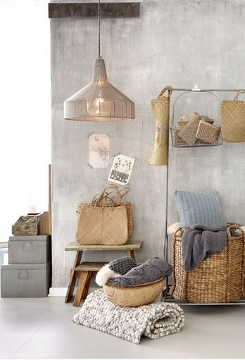 .inspiration: light fixture, gray file boxes, large basket, clothing rack