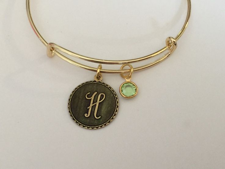 Letter charm and birthstone on a gold adjustable bangle /  Appreciation Gift / Collectable Sturdy