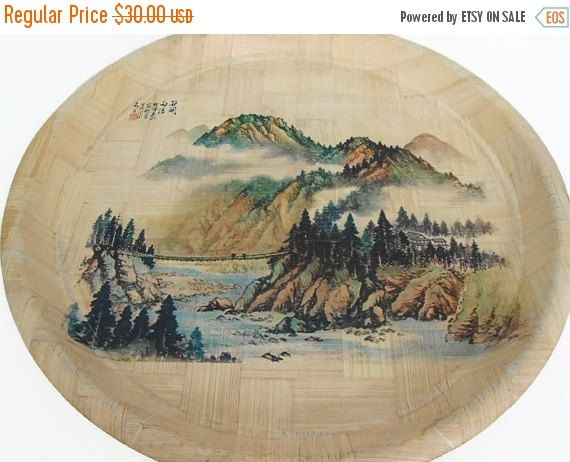 20% Off Woven Bamboo Tray  Asian Landscape  by My3LuvBugsVintage