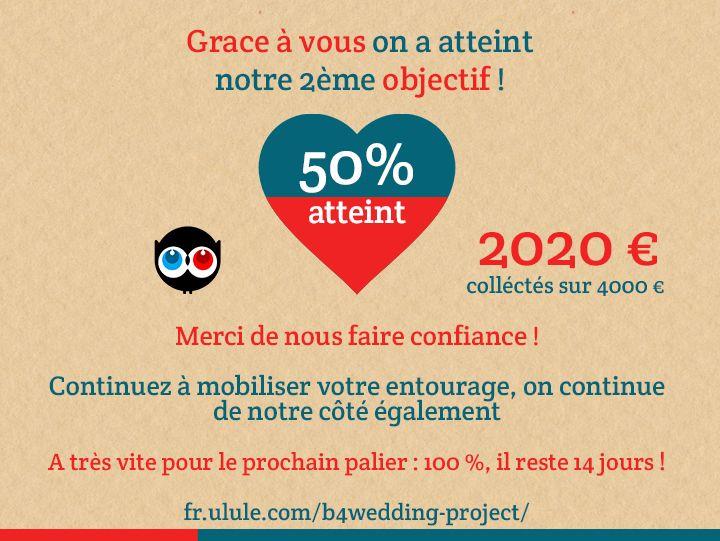 50% atteint ! Continuez à vous mobiliser. Une nouvelle contre-partie pour les professionnels du mariage est en ligne ! #B4wedding #mariage #wedding #ulule