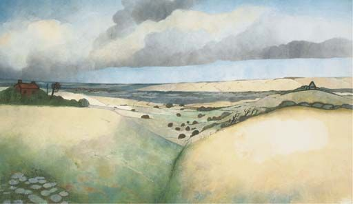 Edward Burra. 'Landscape near Rye'. Watercolour and pencil on paper. Date unknown.