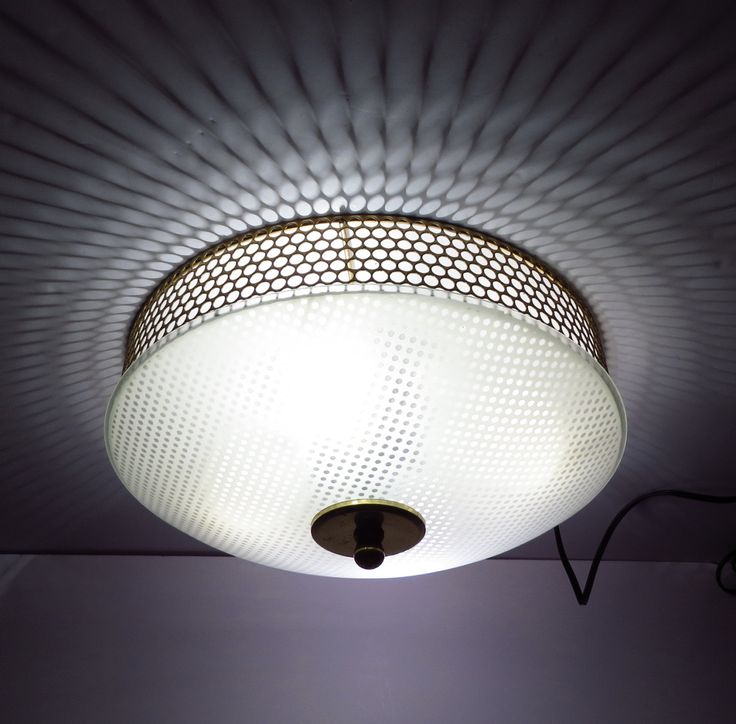 Polka Dot Ufo Ceiling Lamp Vintage 1950s Frosted Shade Flush Mount Light Fixture By Vintagecreekside
