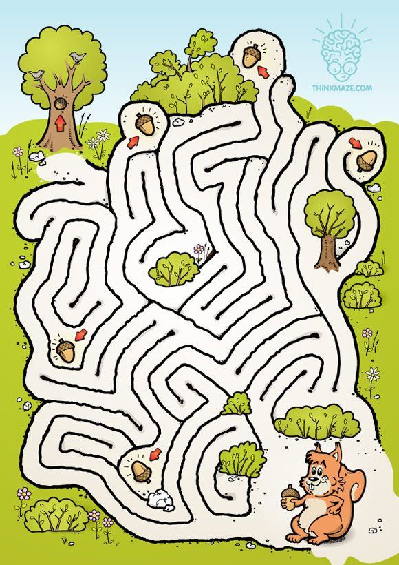 Squirrel is going nuts trying to pick up all the nuts! Help collect them and store them in the tree. CLICK on picture to download the high quality PDF maze!