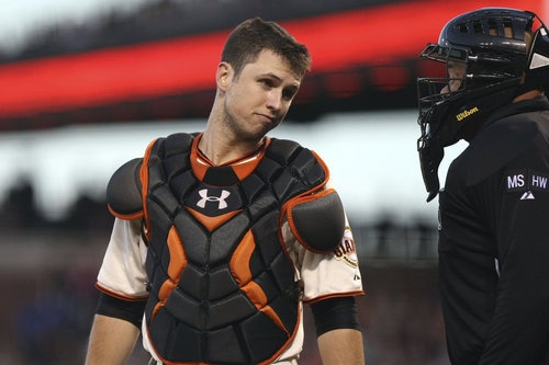 "Remember this look.  This is the Buster Posey ""ARE YOU FRICKIN' BLIND?"" look used on average 6 times a game."