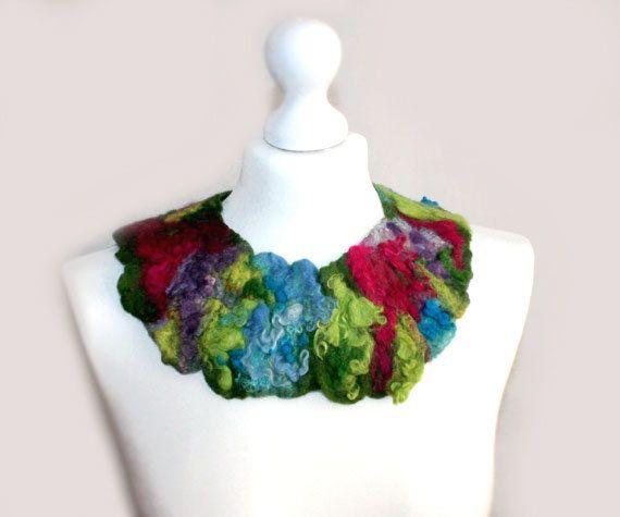 Felted Necklace Felted Collar Muliticolor Bohemian by EsartFelt