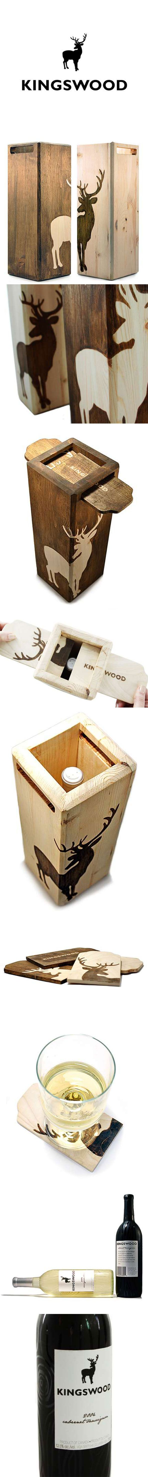 Packagin de botella de vino reutilizable como posavasos. // Wild Wood Branding wine. #packaging #wood