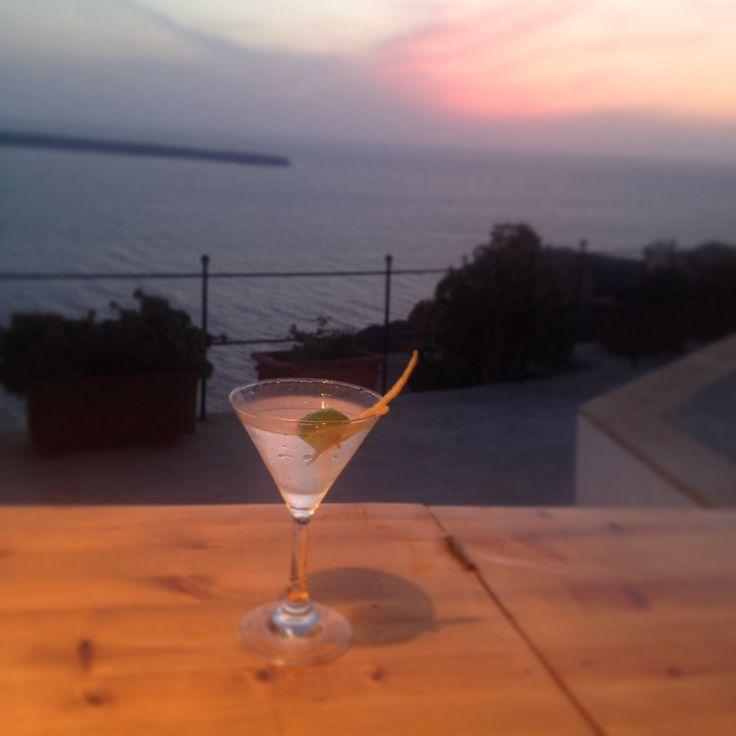 How about a nice drink around sunset in #Santorini..?