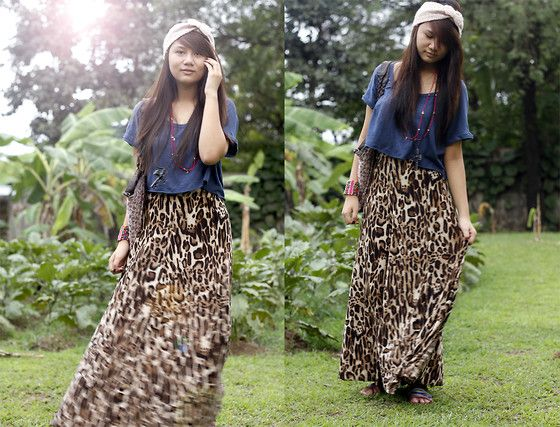 Forever 21 Diy Blue Cropped Top, Armani Exchange  Leopard Print Maxi Skirt