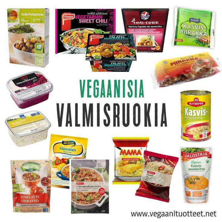 Sekalainen joukko helppoja ateriaratkaisuja: pakasteaterioita, pata-aineksia, pikanuudeleita, piirakoita, valmiskeittoja ja salaatteja.  Pakasteateriat: http://www.vegaanituotteet.net/valmisruuat/pakaste Salaatit ja keitot: http://www.vegaanituotteet.net/valmisruuat/salaatit-keitot Ateria-ainekset ja nuudelit: http://www.vegaanituotteet.net/valmisruuat/pataruuat