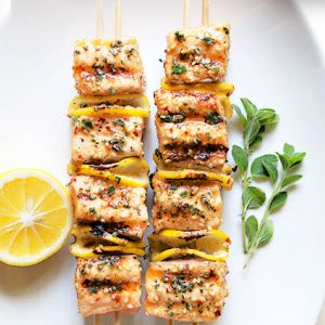 Grilled salmon kabobs, Kabobs and Spicy salmon on Pinterest