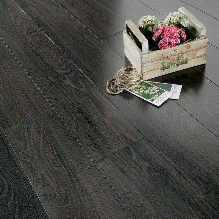 Series Inspire 8mm Gloss Black Oak Laminate Flooring
