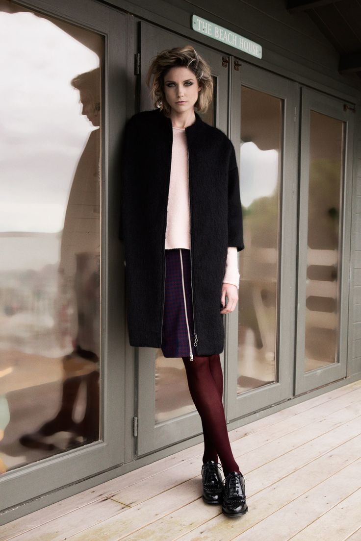 Black mohair zipped coat with pink elastic knit sweater by Carolyn Donnelly The Edit