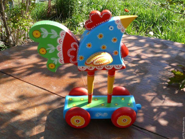 Купить Петушок-красный гребешок - комбинированный, петух, петушок, скульптура, арт объект, роспись