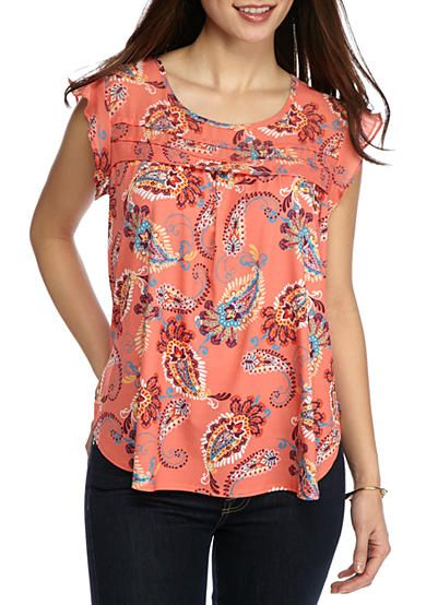 New Directions® Petite Printed Flutter Sleeve Top