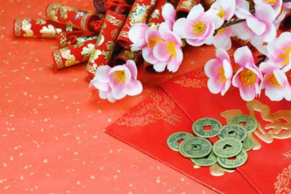 decorate using sakura or cherry blossoms for Chinese New Year