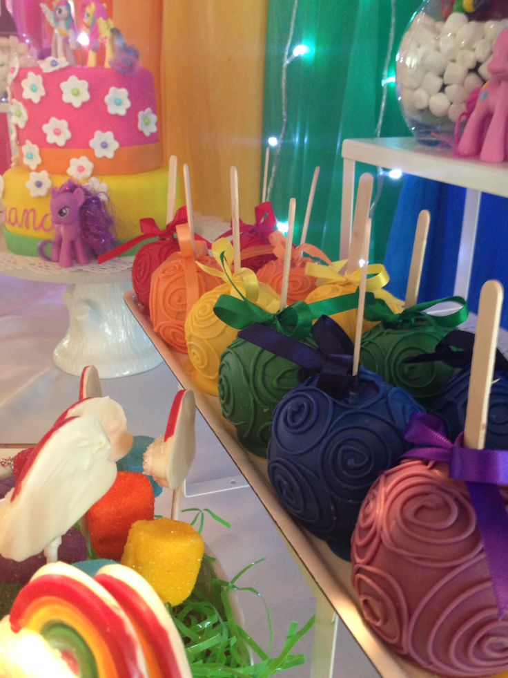 Hand decorated Chocolate Dipped Apples. My Little Pony