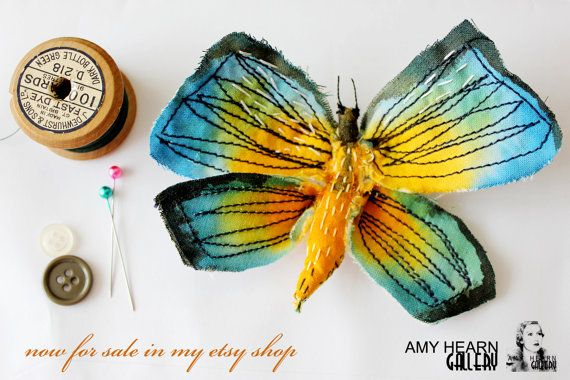 small butterfly fabric sculpture with Free UK postage! via Etsy