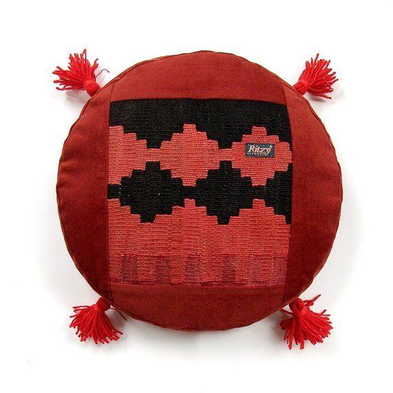 Pom Pom Round Kilim Cushion Meditation Pillow Round Pillow Mini