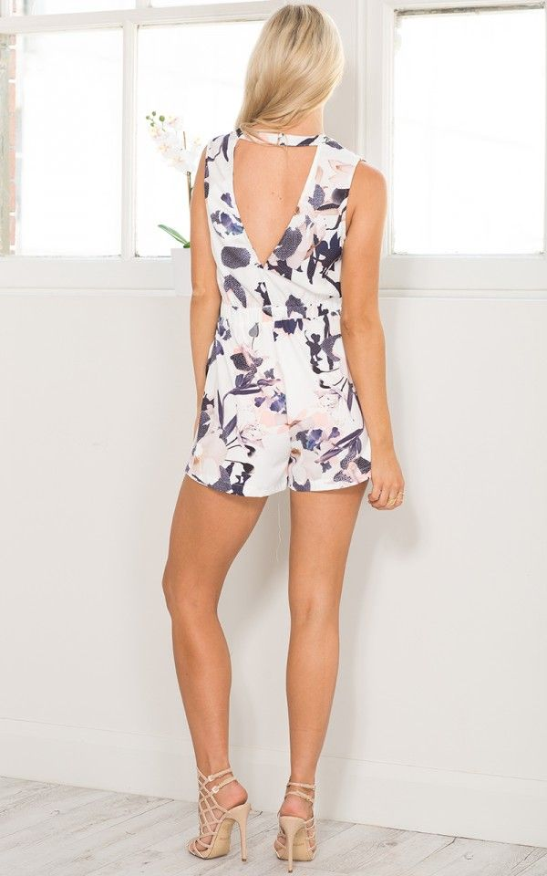 Date Day Playsuit in White Print | SHOWPO Fashion Online Shopping
