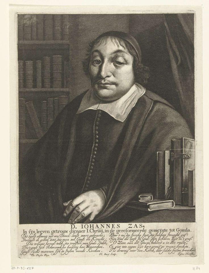 Hendrik Bary | Portret van Johannes Zas, Hendrik Bary, Josias Heinsius, 1671 - 1707 | Portret van de predikant Johannes Zas in een bibliotheek. Onder het portret zijn naam en functie en een vers in twee kolommen van elk vijf regels door Josias Heinsius.