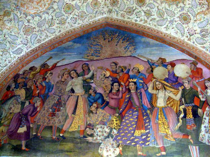 Chaharshanbe Suri, the Festival of Fire.  Chehel Sotoun's mural from the Safavid era.