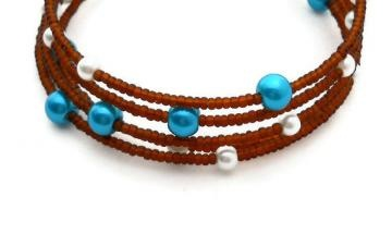 Beaded Memory Wire Bracelet - Rootbeer - Brown - Blue -Teal - White - Glass Pearl $6