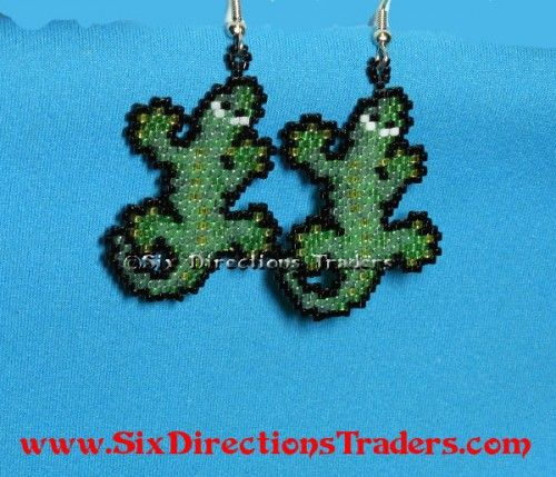Gecko Brick Stitch Beaded Dangle Earrings Comanche Anole Lizard | SixDirectionsTraders - Jewelry on ArtFire