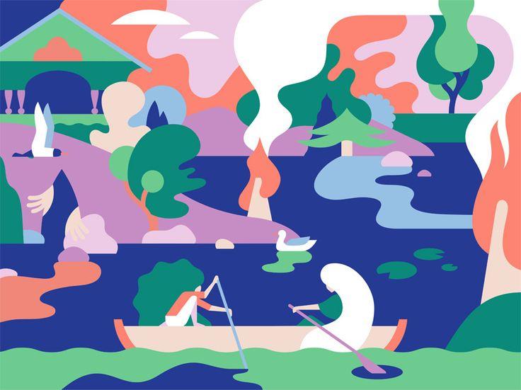 POLVELLA exhibition illustrations on Behance