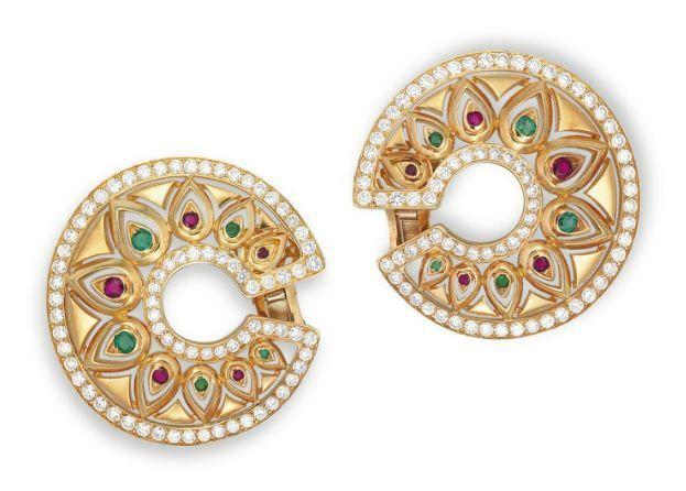 Lot 1629 - Dvojice diamant, rubínový a smaragd '' TANDJORE uší, Cartier