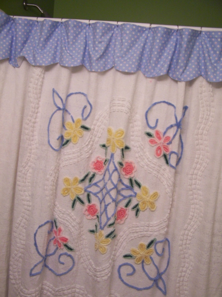 Old Chenille bedspreads can be converted to other useful decor around the house like shower curtains or a cute valance.