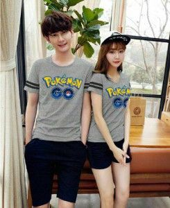 Kaos Couple Setelan Pokemon Go MTFA10 abu