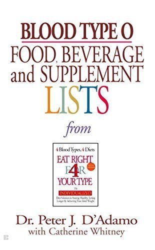 Blood Type O Food, Beverage and Supplemental Lists by Peter J. D'Adamo http://www.amazon.com/dp/0425183092/ref=cm_sw_r_pi_dp_5N-Fvb0Q10W99