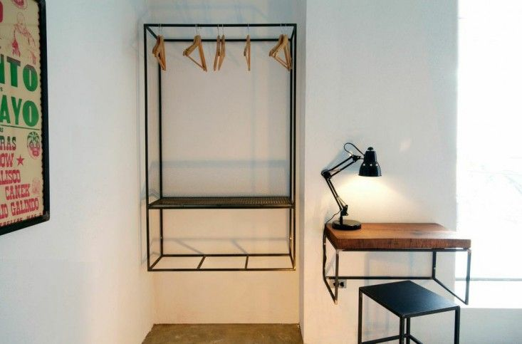 Drift San Jose hotel, an $89/night resort in Baja, Mexico (wall hung closet made of welded steel) | Remodelista