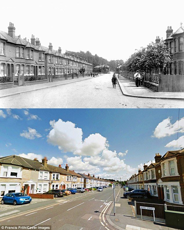 Como Street, Romford: In the Essex suburbs of 1908, behind wrought iron railings, sapling...