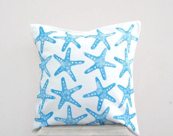Beach Cottage Throw Pillows : Nautical decor pillow: starfish print in blue on white throw pillow cushion cover, beach cottage ...