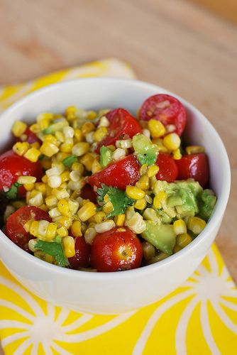 Grilled corn and Avocado salad.