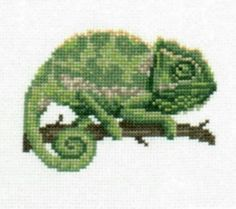 Chameleon counted cross-stitch chart by 5PrickedFinger5 on Etsy