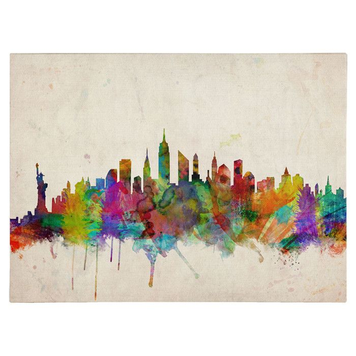 New york skyline by michael tompsett framed painting print on wrapped canvas