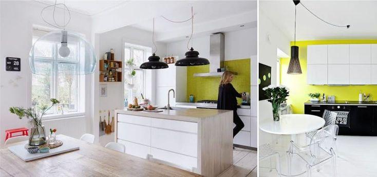 Яркие зеленые стены на кухне
